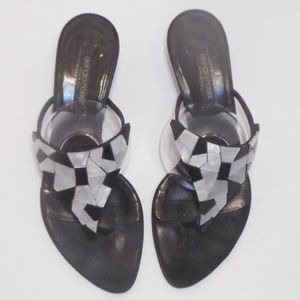 Sergio Rossi Shoes - Sergio Rossi shell decor kitten heel thong sandals